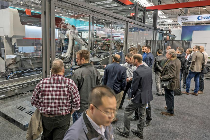 Visitors to the Bystronic stand at EuroBLECH 2018, where the company presented its vision for the smart sheet metalworking factory of the future.